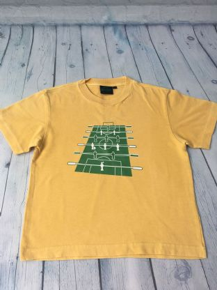 Mini Boden yellow t-shirt with table football design age 5-6